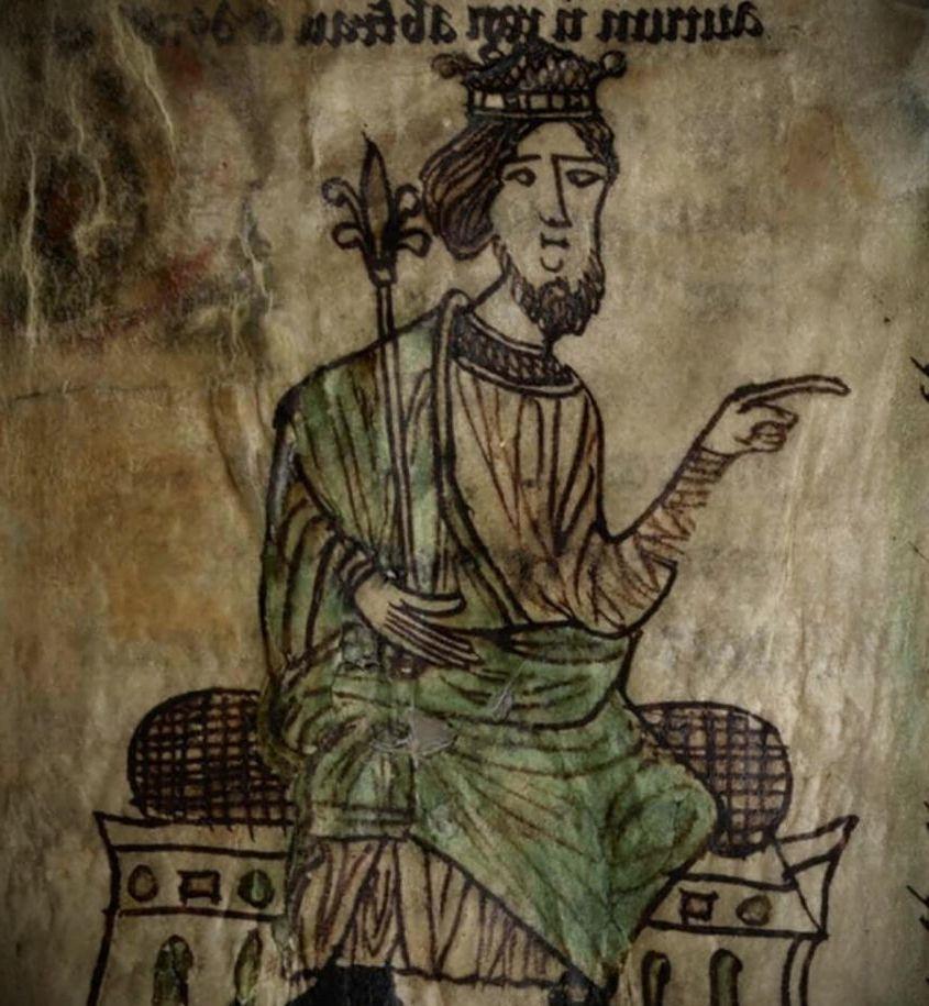 Хивел Да. Миниатюра из манускрипта«Законы ХивелаДоброго». Середина XIII века
