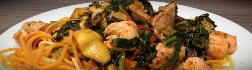 паста со шпинатом и курицей