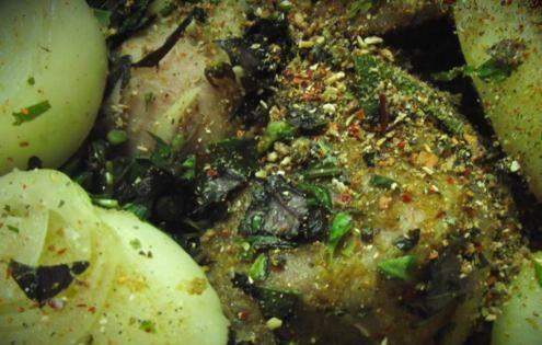 Шашлык из свинины в базилике